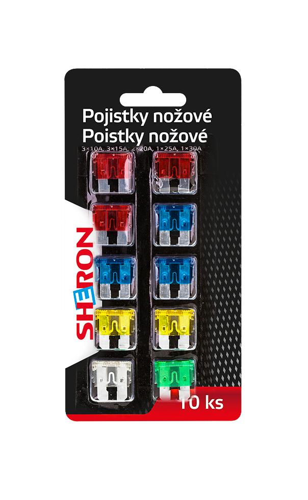 SHERON pojistky nožové 10 ks - 1 balení